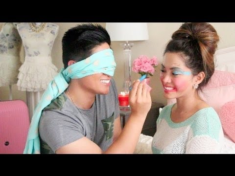 Blindfolded Makeup Challenge With My Boyfriend!  - ThatsHeart