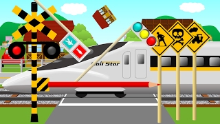Japanese Blue Train (Shinkansen) passes a railway crossing | Kids animation