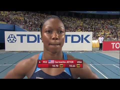 Carmelita Jeter wins the Women's 100m Final
