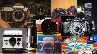 Vlog #1 | My Complete Analog Camera Collection 2016 (103 pcs. Nikon Canon Minolta / Flashbulbs)