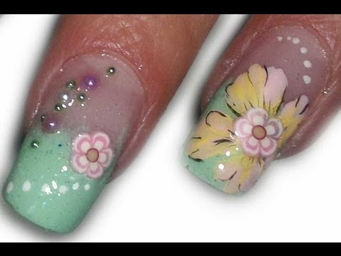Fimo and hand painted flowers video nail art tutorial , pastel colors