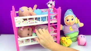 Twin Babies Baby Dolls Lil Cutesies Bedtime Story Bunk Beds Finger Family Song Puppet Nursery Rhyme