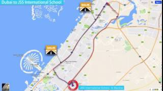 Route Map - Dubai to JSS International School, Al Barsha