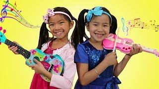 Jannie & Emma Pretend Play w/ Guitar Music Toys & Sing Kids Songs Nursery Rhymes
