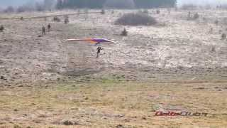 Hang gliding school. Launch and landing