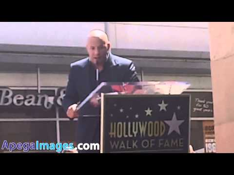 Vin Diesel speech before get the star at the Hollywood Walk of Fame