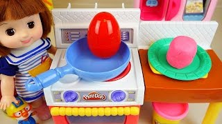 Baby Doll Play Doh Surprise eggs kitchen toys with Pororo