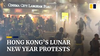 Skirmishes in Hong Kong's Mong Kok during Lunar New Year protests