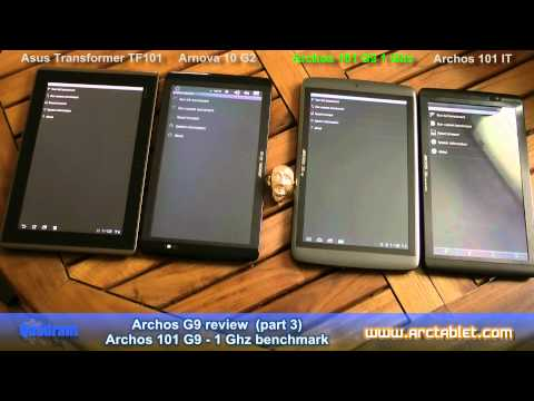 Archos 101 G9 1 GHz benchmarks. compared to Asus Transformer. Arnova 10G2. Archos 101 IT