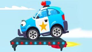 Coche de policia y Carrera en la ciudad | Dibujo animado Para Niños - Carros infantiles