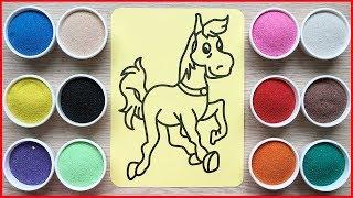 Đồ chơi trẻ em TÔ MÀU TRANH CÁT CON NGỰA HOANG, Colored sand painting horse toys kids (Chim Xinh)
