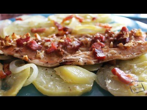 Trucha al horno con jamón