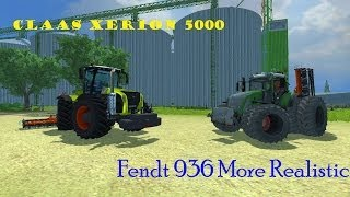 Farming Simulator 2013 Harrowing with Fendt 936 and Claas Xerion 5000