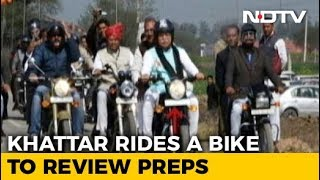 Haryana Chief Minister Rides Bike To Review Arrangements For Amit Shah's Jind Rally