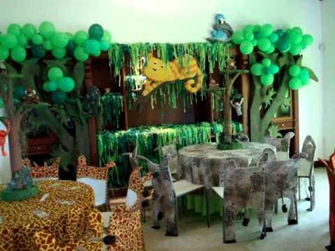 Fiesta tematica safari safari lorenzo 1 a ito 8 mpg youtube - Como decorar mesas de salon ...