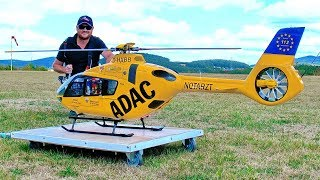 STUNNING HUGE RC EC-135 ADAC SCALE MODEL ELECTRIC HELICOPTER FLIGHT DEMONSTRATION