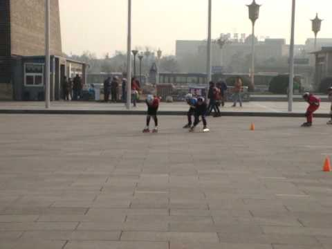 rollerblading next to Mao's mausoleum Video