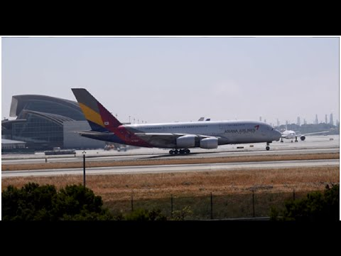 Asiana Airlines Airbus A380 HL7626 Departing Los Angeles International Airport