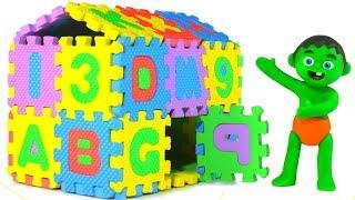 SUPERHERO BABIES BUILD AN ABC HOUSE ❤ SUPERHERO PLAY DOH CARTOONS FOR KIDS