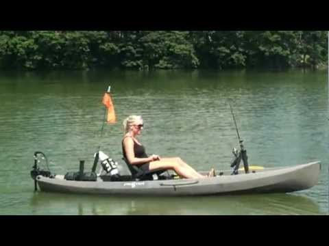 The NuCanoe Frontier 12 with the BassYaks Hands Free Trolling Motor