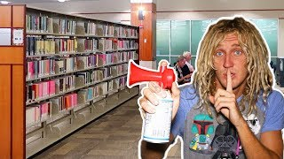 Air Horn Prank IN LIBRARY!! *Cops Called* | JOOGSQUAD PPJT