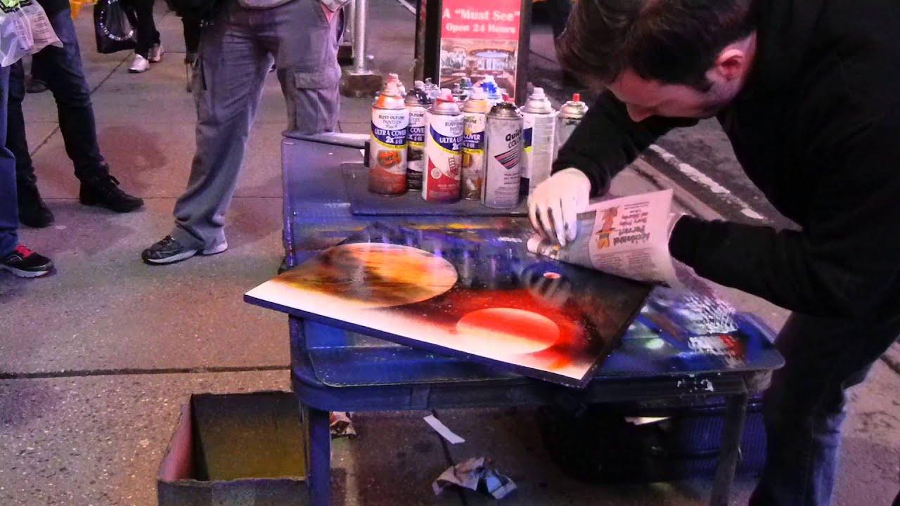 new york city street artist spray paints nyc skyline youtube. Black Bedroom Furniture Sets. Home Design Ideas