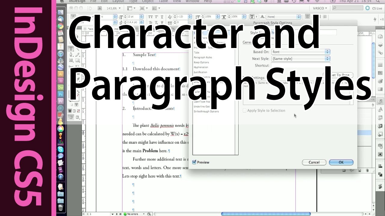 InDesign CS5 Tutorial: Working with text - Paragraph and ...