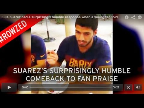 Young fan tells Luis Suarez he's the world's best - the Barcelona man quickly corrects him