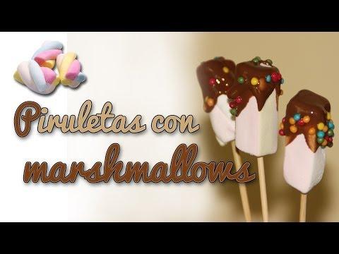 Piruletas de nubes con chocolate - Piruletas con marshmallows (Manualidades Fáciles)
