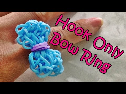 Rainbow Loom Bow Charm / Ring using only the hook and Loom Bands