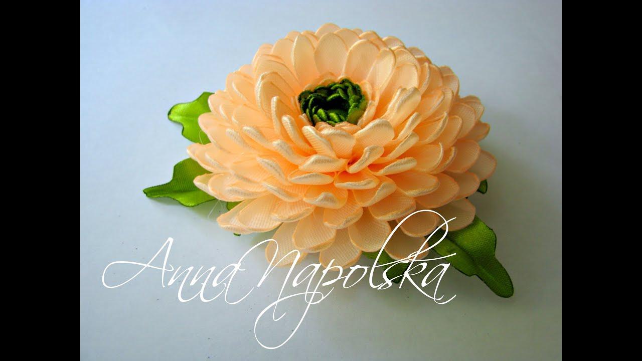 Цветы из лент хризантемы 144