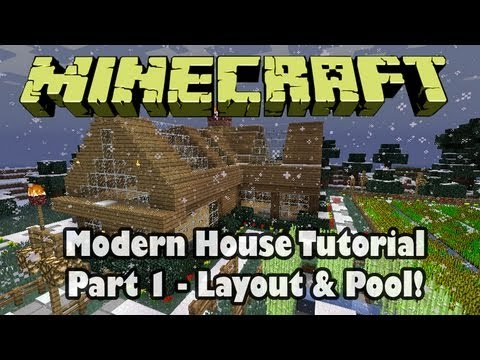Minecraft: Building a Modern House Part 1 - Layout & Pool!