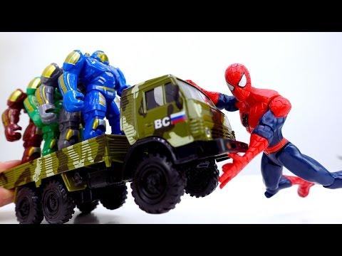 Видео для детей: Супергерои! Джокер обманывает Человека Паука.