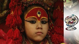Video: 3-year old 'Kumari' virgin girl worshiped as Hindu God by Hindus and Buddhists in Nepal
