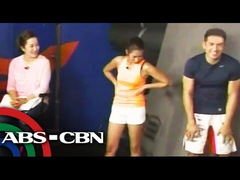 Pokwang tries parkour with Dennis Trillo