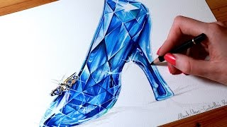 CINDERELLA Drawing the GLASS SLIPPER