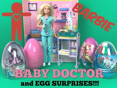 Baby Doctor Barbie Doll - Checkup for the Babies with Jumbo Egg Surprises   TOYS GALAXY