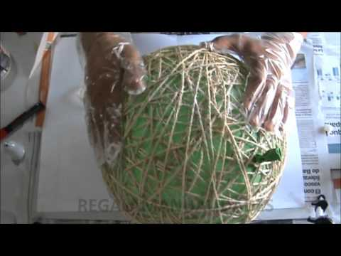 Como hacer l mpara de cuerdas how to make string lamps - Lamparas colgantes rusticas ...