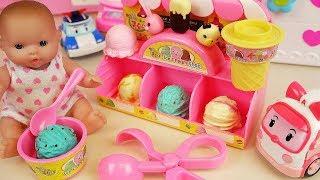 Baby Doll Ice cream shop and Poli car toys baby Doli play
