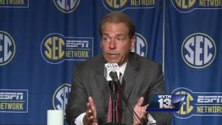 Alabama coach Nick Saban speaks at SEC Media Days