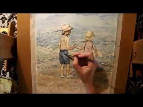 How To Paint Waves  Seafoam and Wet Sand  Children at the Beach  Art Journal