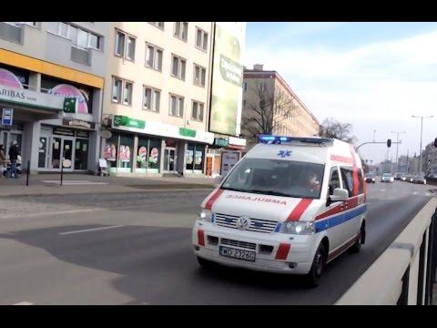 Polish Ambulance siren Emergency Medical Transport. Alarmowo na sygnale karetka w Gdańsku Wrzeszczu