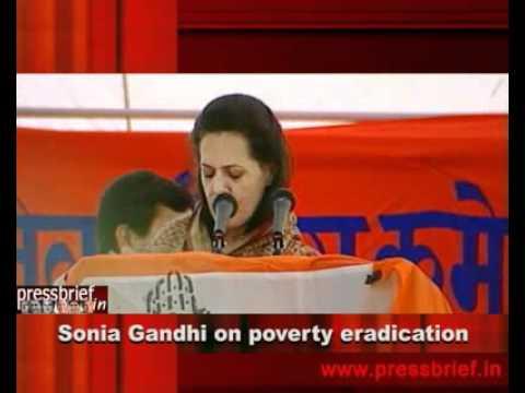 Sonia Gandhi on eradication of poverty