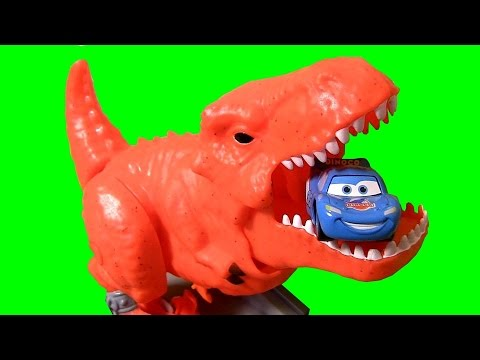 Dino Breakout Playset T-rex Dinosaur Eats Dinoco Lightning Mcqueen Disney Pixar Cars video