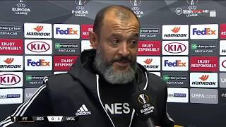 Wolves manager Nuno Espírito Santo gives his thoughts after their later winner