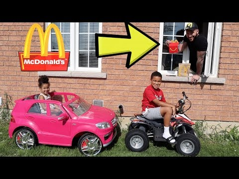 McDonald's Drive Thru Prank on Power Wheels, Kids Pretend Play | FamousTubeKIDS