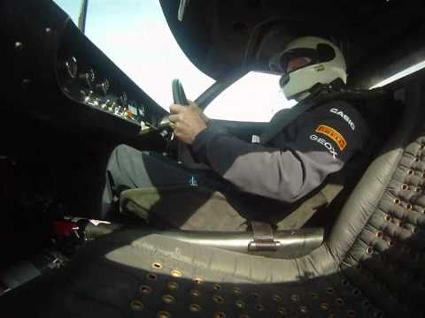 Adrian Newey driving the Ford GT40 at the Circuit de Catalunya