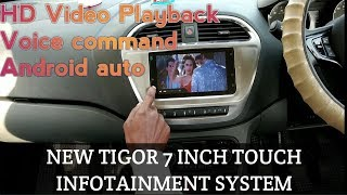All new tata tigor new 7 inch touch infotainment full detailed review.