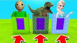 Minecraft PE : DO NOT CHOOSE THE WRONG PORTAL! (Baldi's Basics, Giganotosaurus & Elsa)