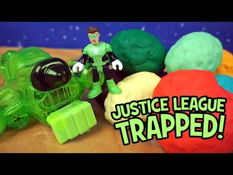 Justice League Toys Trapped! Green Lantern Saves Imaginext Justice League & Play-Doh Surprise Eggs